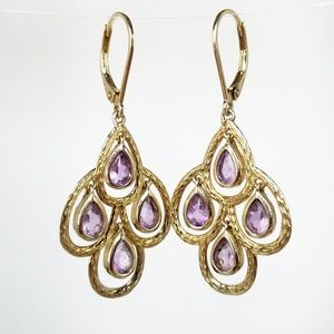 Sterling Silver 925 Chandelier Amethyst Earrings